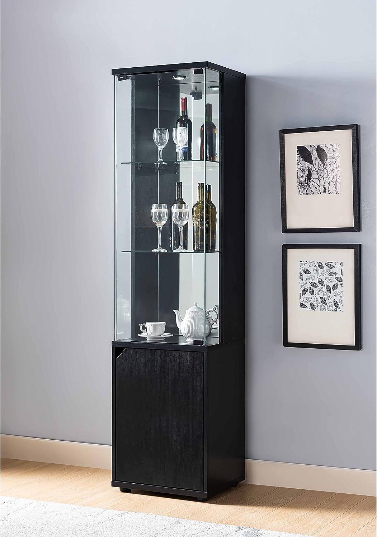Smart Home Wine Cabinet Curio with Storage Cabinet, Black