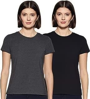 Amazon Brand - Symbol Women's Plain Regular fit T-Shirt (Pack of 2) (SYMAW19RN17_Multicolour_M)