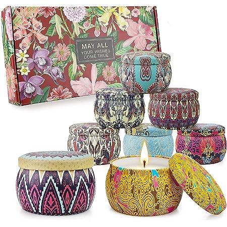 Set di candele profumate Regali per donne Candele per aromaterapia 8 confezioni 35,2 once 280 ore Candela da viaggio portatile in cera di soia.