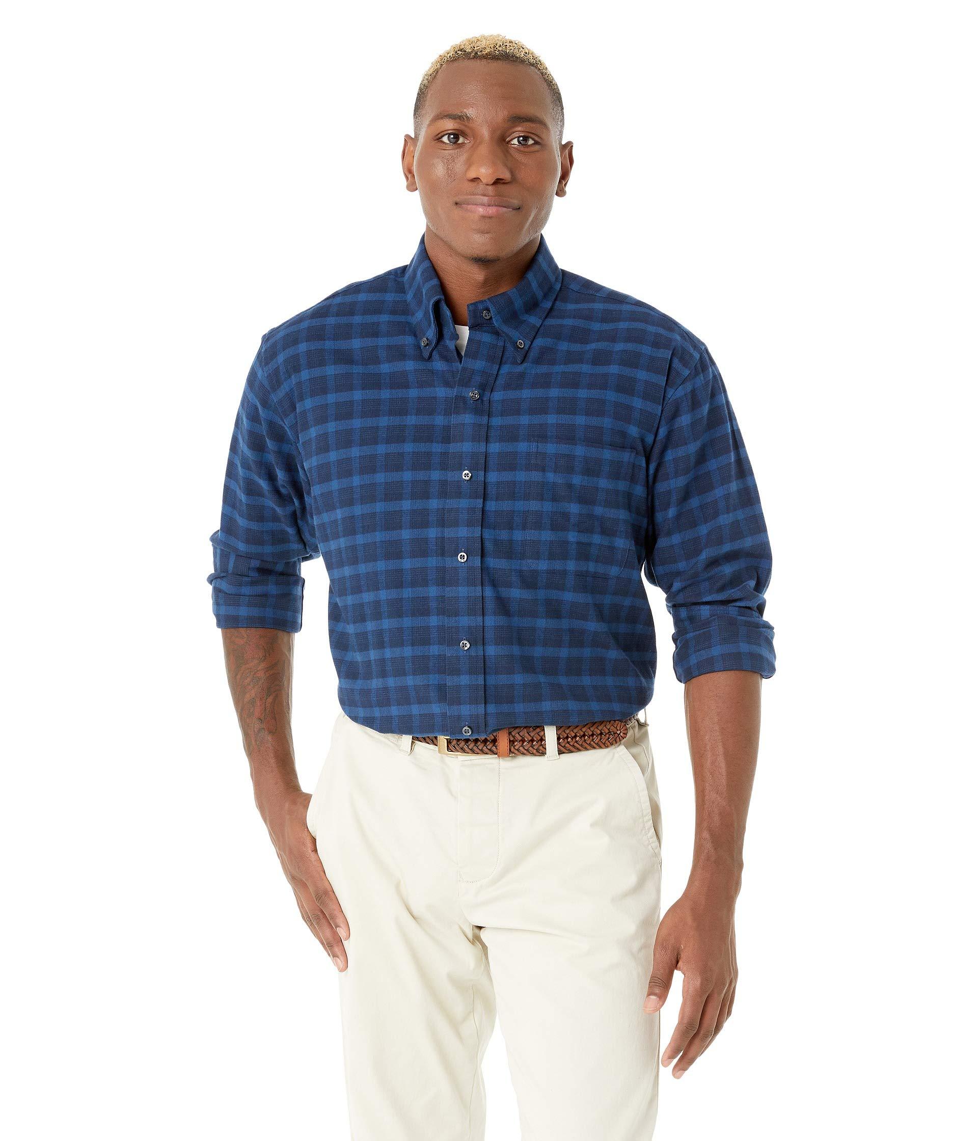 Plaid Collar Blue Button Classic Ready Magna Down Flannel Fit XwqaAqYxO