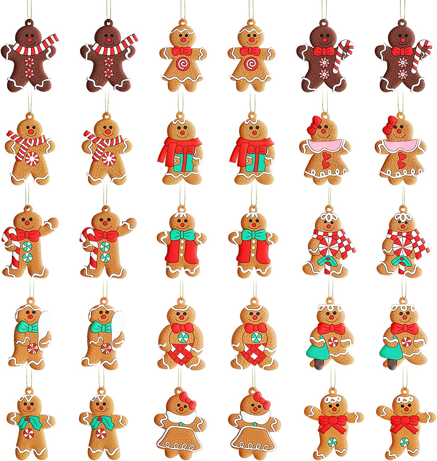 Christmas Gingerbread Man Gingerbread Ornament Plastic Gingerbread Hanging Decor Gingerbread Figurines Christmas Tree Ornament for Garden Office Coffee Bar Christmas Tree Decor, 15 Styles (30)