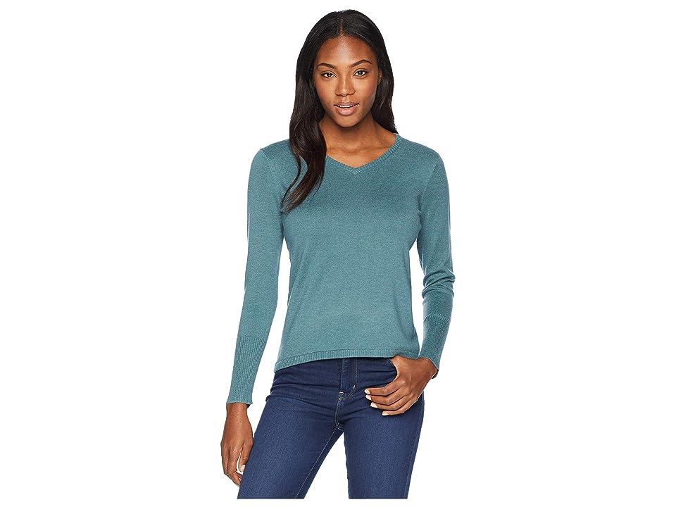Smartwool Shadow Pine V-Neck Sweater (Mediterranean Green Heather) Women