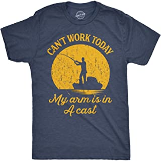 Mens Can`t Work Today My Arm is in A Cast T-Shirt Funny Fishing Fathers Day Tee