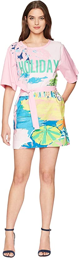 Landscape Print T-Shirt Dress with Tie Belt