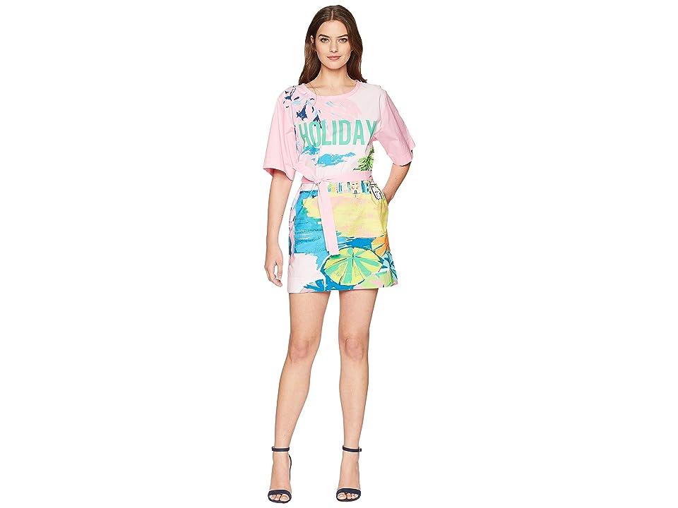 Boutique Moschino Landscape Print T-Shirt Dress with Tie Belt (Fantasy Print Violet) Women