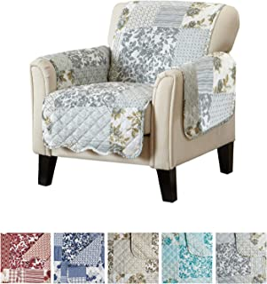 Patchwork Scalloped Printed Furniture Protector. Stain Resistant Chair Cover. (24