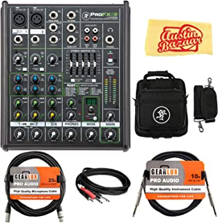 Mackie ProFX4v2 4-Channel Professional Effects Mixer Bundle with Gig Bag, XLR Cable, Instrument Cable, Stereo Breakout Cable, and Austin Bazaar Polishing Cloth