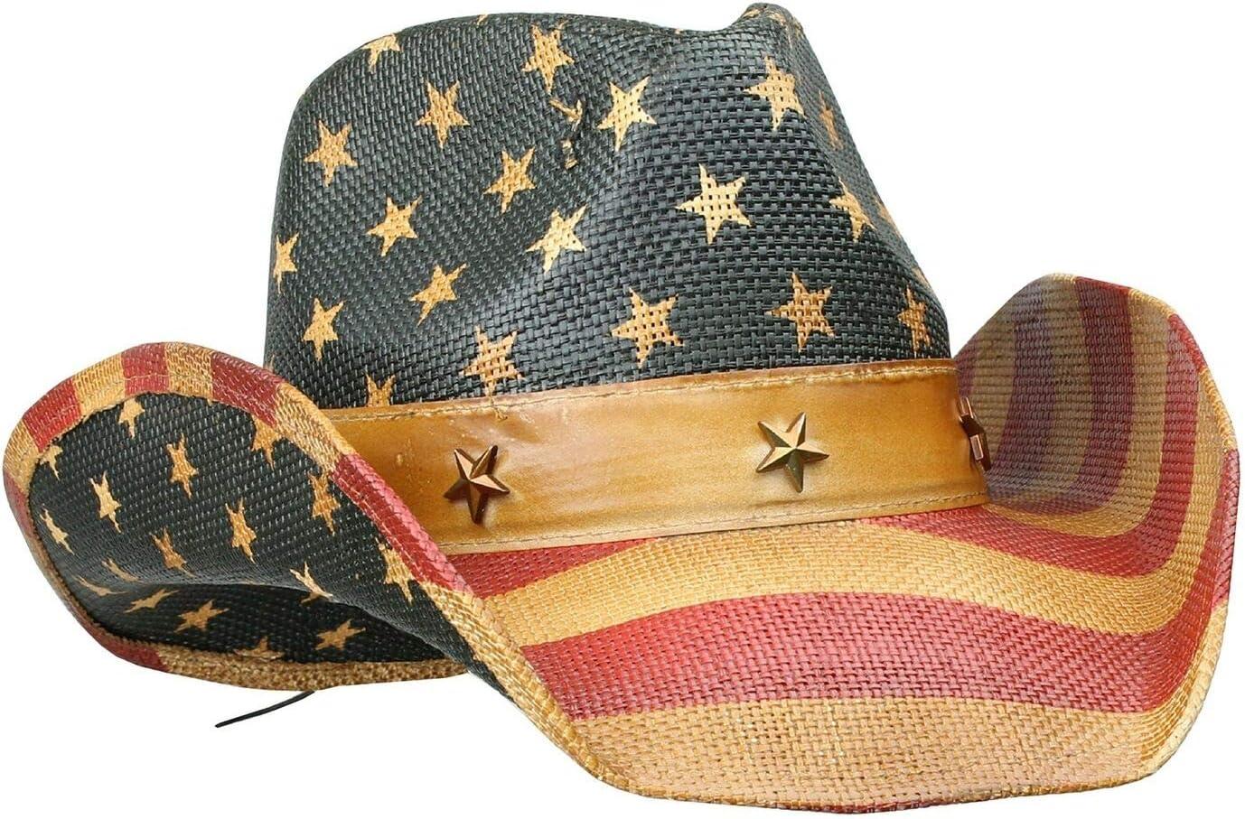 COREGEAR Patriot Men's Vintage Tea-Stained USA American Flag Cowboy Hat w/Western Shape-It Brim