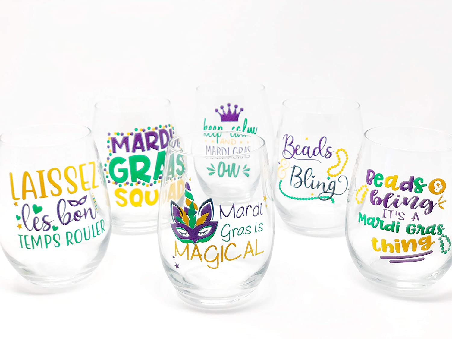 Mardi Gras Set of 4 Many popular brands Stemless Ma Wine Max 67% OFF Choose Glass Favorite Your