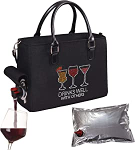 Primeware Insulated Drink Purse w/ 3L Bladder Bag   Thermal Hot and Cold Storage   Portable Drinking Dispenser for Wine, Cocktails, Beer, Alcohol   PU Leather Finish (Drink Well)
