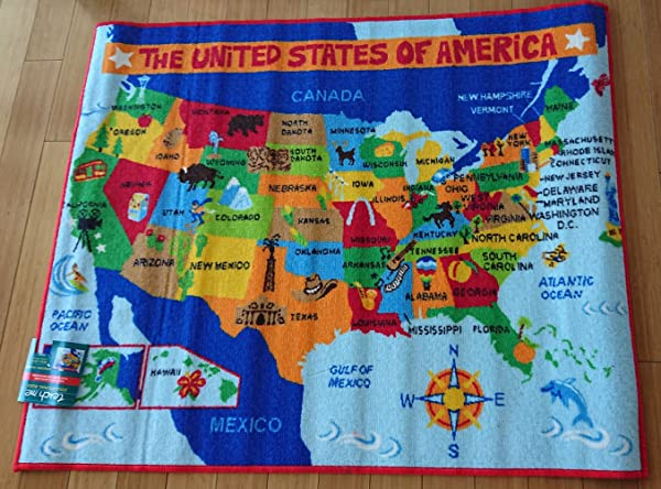 Gertmenian Teach Me US Map Learning Carpets Educational Play Mat Classroom Decorations Area Rugs 40 X50 Multicolor