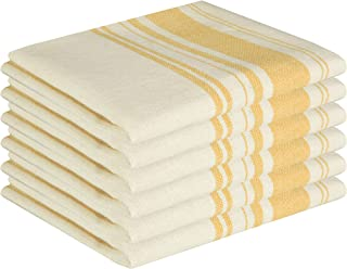 GLAMBURG Vintage Stripe Premium Cotton Kitchen Dish Towels 6-Pack 16x26 Mustard Yellow, Dish Cloths, Bar Towels, Tea Towels and Cleaning Towels, Kitchen Towels with Hanging Loop