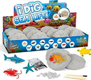 Sea Life Animals Egg Dig Kit Dig Bricks 12 Excavation Kits with 12 Unique Sea Life Toys Dinosaur Dig for Kids Easter Party...