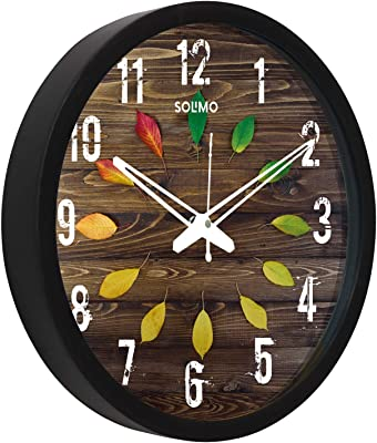 Amazon Brand - Solimo 12-inch Wall Clock - Colorful Leaves (Silent Movement, Black Frame)