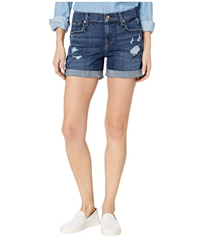 7 For All Mankind Relaxed Mid Roll Shorts in Broken Twill Plaza w/ Destroy (Broken Twill Plaza) Women
