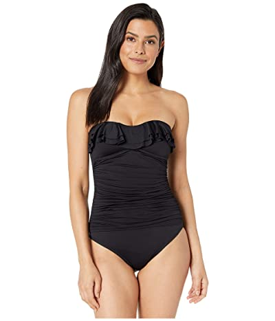 La Blanca Island Goddess Ruffle Bandeau Mio One-Piece Swimsuit (Black) Women