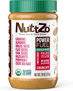 NuttZo Power Fuel Nut Butter, Crunchy, Organic, Seven Nuts & Seeds, Paleo, 26 Ounce