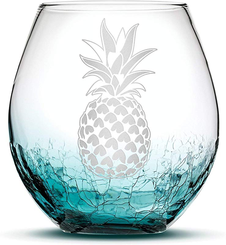 Integrity Bottles Premium Pineapple Stemless Wine Glass Crackle Teal Handblown Hand Etched Gifts Sand Carved