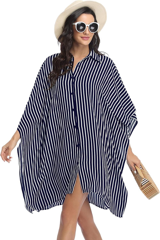 Ekouaer Women's Swimsuit Cover Up 3/4 Sleeve Beachwear Bikini Coverups Button Down Oversized Cover Up Shirt S-3XL