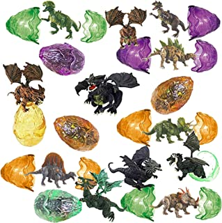 Totem World 12 Toy Filled Ancient Dragon Dinosaur Egg Figurines Inside - Kids Love Their Bright Colors and Adorable Designs - Perfect for Egg Hunts, Goodie Bags, Homework Rewards, and Party Favors