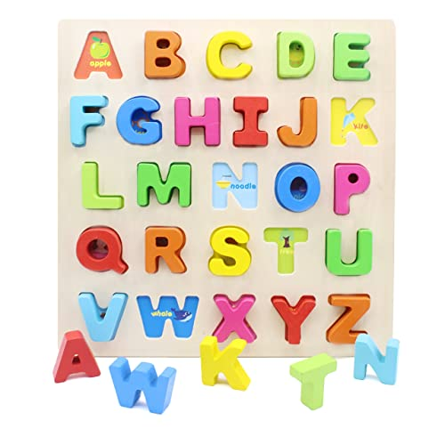 Frank 5cm Baby Kids Wooden Alphabet Letters Baby Educational Learning Toys Refrigerator Message Board 1 Set=26pcs Stationery Stickers
