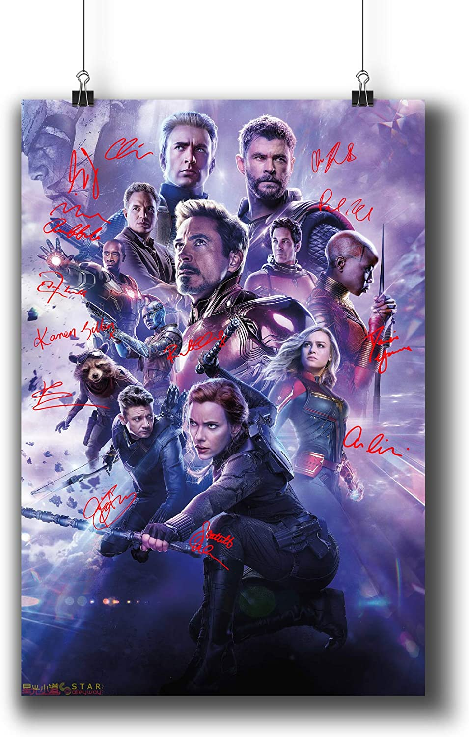 Amazon Com Avengers Endgame 2019 Movie Poster Small Prints 183 302 Reprint Signed Casts Wall Art Decor For Dorm Bedroom Living Room A4 8x12inch 21x29cm Wall Art