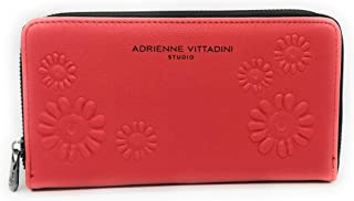 Embossed Floral Zip Around Wallet- Red