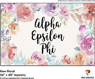 Pro-Graphx Alpha Epsilon Phi Greek Sorority & Fraternity Flag Officially Licensed, Tapestry, Display Banner, Sign, Letter Pattern Large Decor - 3 feet x 5 feet - New Floral