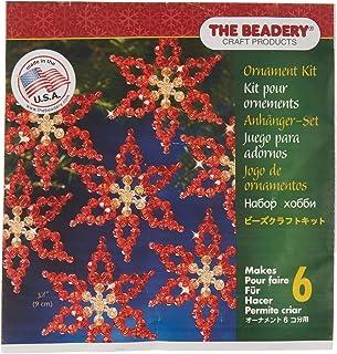 Beadery BOK-3056 Holiday Beaded Ornament Kit, 3.5-Inch, Makes 6 Poinsettias