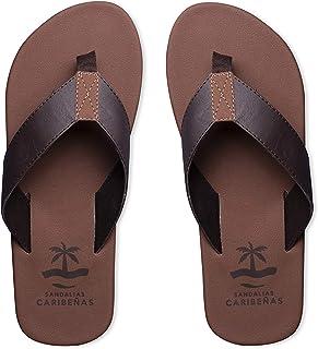 Sandalias Caribeñas Men Nizuc - Casual Beach Urban Sandals │ Water Friendly Comfort Crow Feet Thong Flip Flops Long Lasting