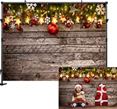 Allenjoy 7x5ft Christmas Backdrop Wooden Wall Christmas Backdrops for Photography Red Ball Pine Tree Christmas Photo Backdrop Decorations New Year Party Christmas Photography Props