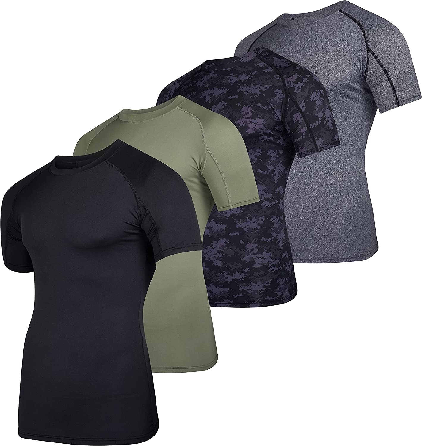 4 Pack: Men's Short Sleeve sale Base Safety and trust Undershi Layer Compression Shirt