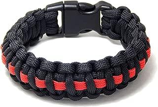 Paracord Survival Bracelet Black Thin Red Line Firefighter