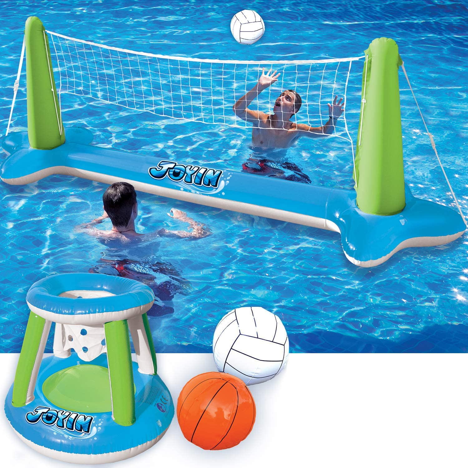 Inflatable Volleyball Net Basketball Regular discount wholesale Hoops Green F Pool Blue