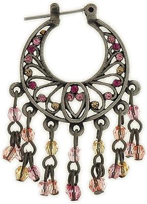 behave® Donne Orecchini Pendenti con Piccoli Pendenti Fatto di Metallo - Rosa - 4cm Dimensione
