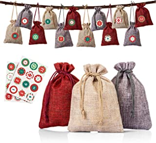 Naler 24 Pieces Hanging Burlap Bags Candy Gift Bags Drawstring Pouch Burlap Sacks for DIY Xmas Christmas Home Decorations,...