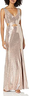 BCBG Max Azria Women's Sequined Cut-Out Sleeveless V-Neck Gown