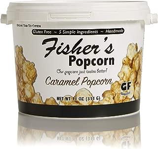 Fisher's Popcorn Caramel Popcorn, Gluten Free, 5 Simple Ingredients, Handmade, No Preservatives, No High Fructose Corn Syrup, Zero Trans Fat, 11oz Tub (1/2 Gallon)