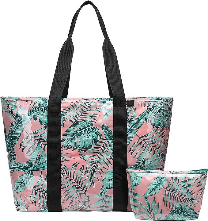 Beach Bag, F-color Waterproof PVC Tote Shoulder Bag with Cosmetic Bag for Women