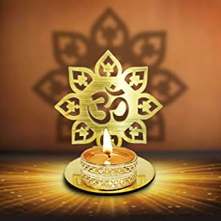 Om Shape Diwali Shadow Diya. Deepawali Traditional Decorative Diya in Om Shape for Home/Office.Religious Tea Light Candle Holder Stand. Decoration Indian Gifts Items