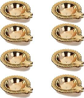 Hashcart (Set of 10) Handmade Indian Puja Brass Oil Lamp - Diya Lamp Engraved Design Dia