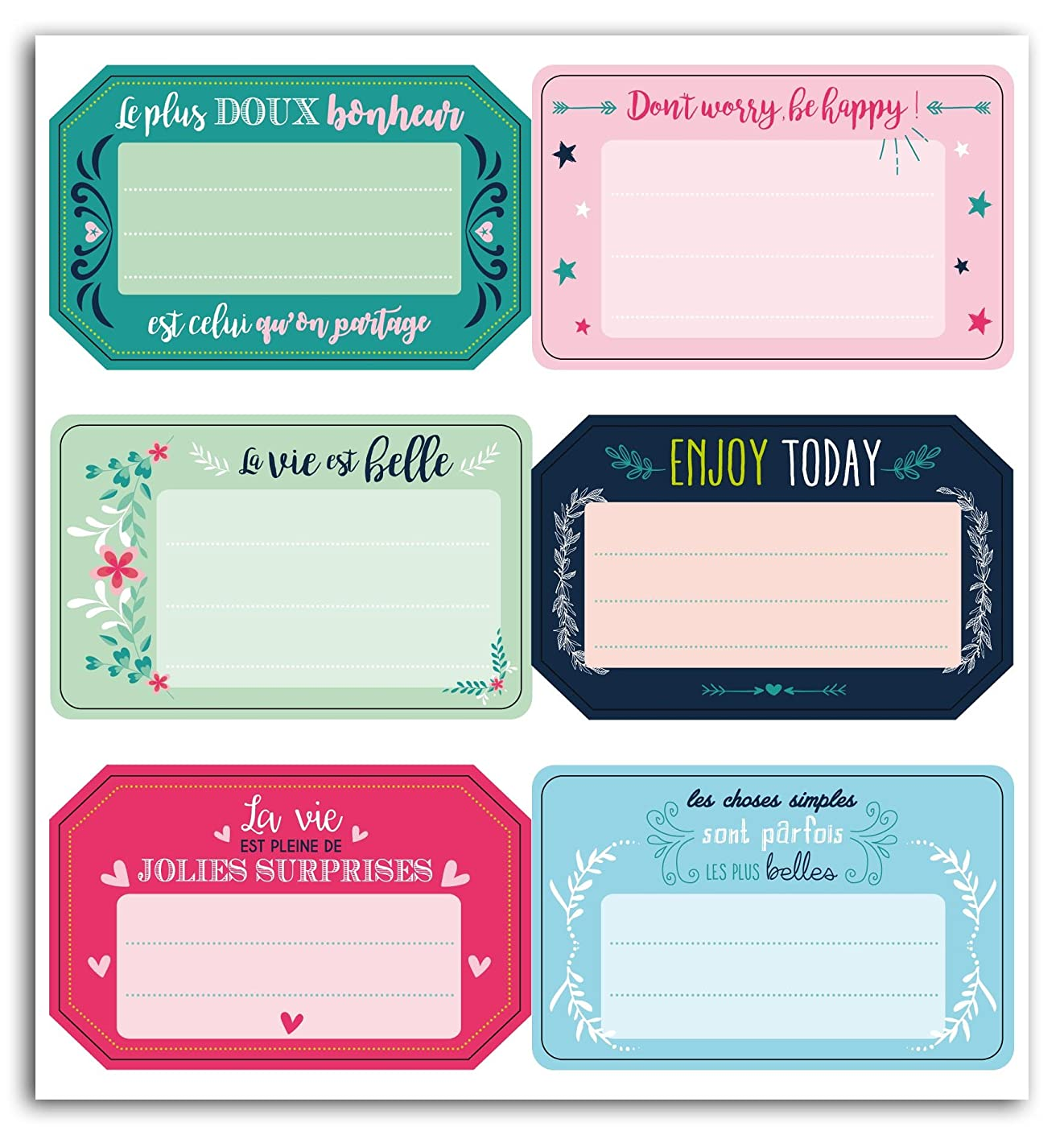 Toga 6 Adhesive Labels Positive Messages (in French & English)