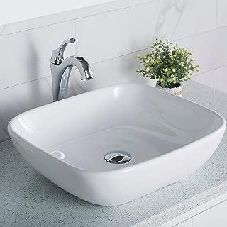 Kraus KCV-127 Elavo Bathroom Vessel Ceramic Sink, 18 Inch, White