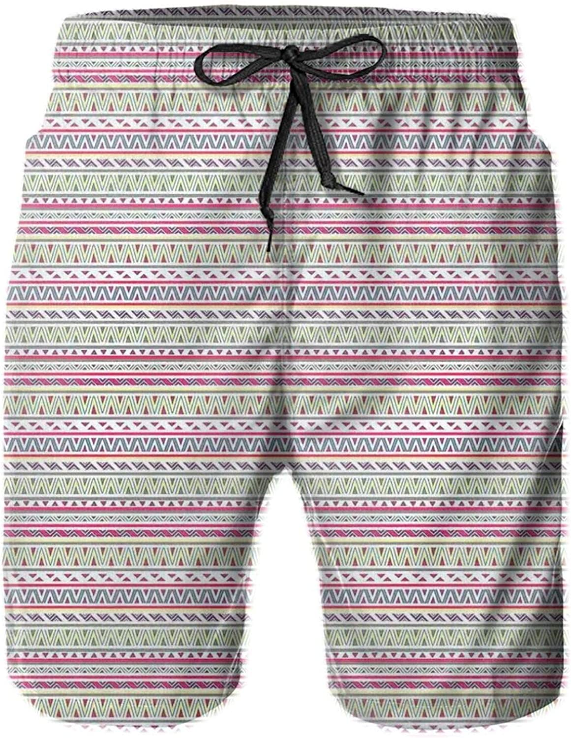 Ethnic Stripes with Triangles Arrows Abstract Geometric Composition Drawstring Waist Beach Shorts for Men Swim Trucks Board Shorts with Mesh Lining,L