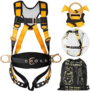 Happybuy Construction Safety Harness Fall Protection Full Body Safety Harness with 3 D-Rings,Belt and Additional Padding (Yellow with Belt)