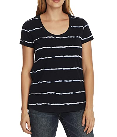 Vince Camuto Short Sleeve Linear Whispers Scoop Neck Tee (Night Navy) Women
