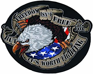 Lethal Threat LT30094 'FREEDOM' Eagle Embroidered Patch (Large/9.25