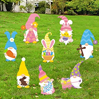 Huray Rayho Easter Gnomes Yard Sign and Outdoor Lawn Decorations - Large Bunny Gnomes Yard Signs with Plastic Stakes - Eas...