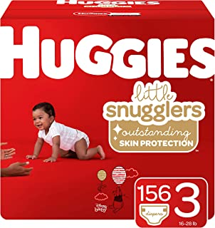 Huggies Little Snugglers Baby Diapers, Size 3 (fits 16-28 lb.), 156 Ct, Economy Plus Pack (Packaging May Vary)