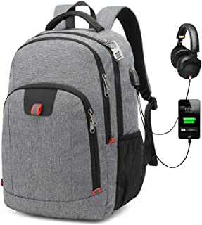 G-raphy Travel Backpack Waterproof for Laptops up to 17-inches with USB Charging Port (Grey)
